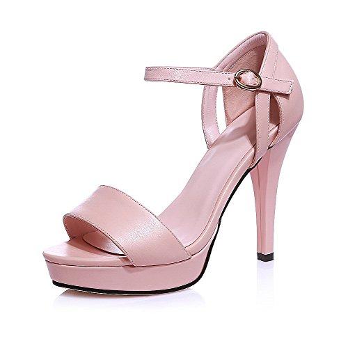 Sandaalit Naisten Vaaleanpunainen Pu Kiinteä Peep Metallinen Korkokengät Solki Toe Agoolar qRx07dq