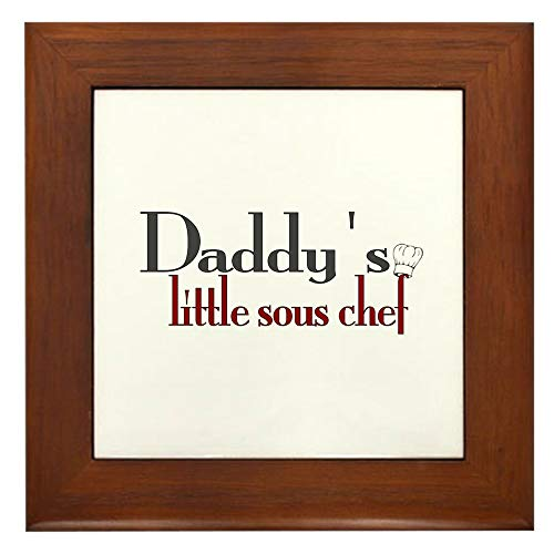CafePress Daddy's Sous Chef Framed Tile, Decorative Tile Wall Hanging