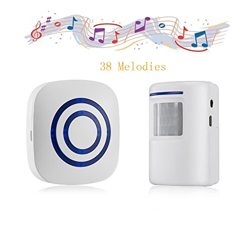 For Sale! Door Chime,Wireless Business Door Motion Sensor Detector Smart Visitor doorbell Home Secur...