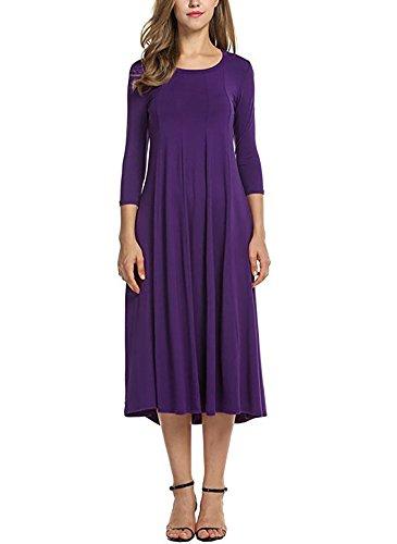 Ladybranch Women's 3/4 Sleeves Solid Color Casual Long Dress A-Line Loose Pleated Midi Dress (Medium, Purple)