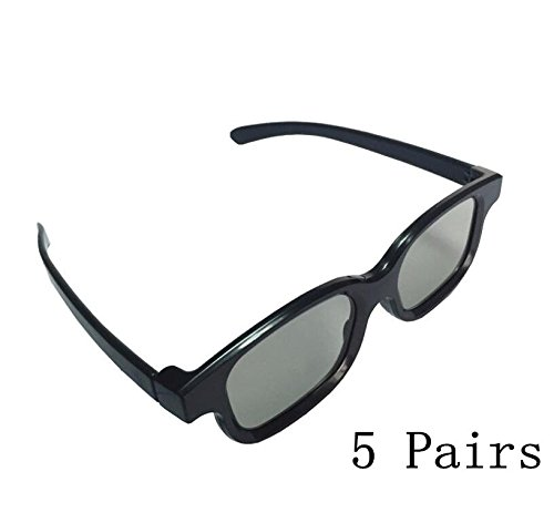 YICHUMY 5 Pairs Passive 3D Glasses - For RealD 3D Cinema & p