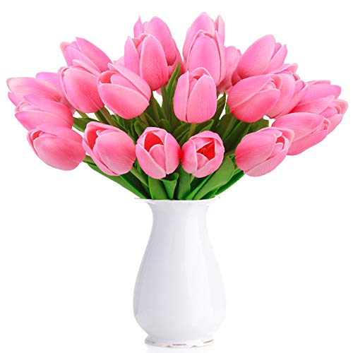 Bomarolan Artificial Tulip Fake Holland Mini Tulip Real Touch Flowers 24 Pcs for Wedding Decor DIY Home Party (Pink) -