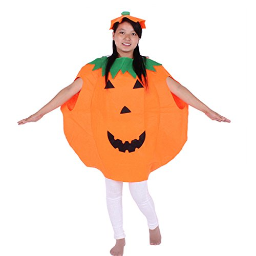 Unisex Adult Halloween Party Orange Pumpkin Unisex Costume Set with A Hat