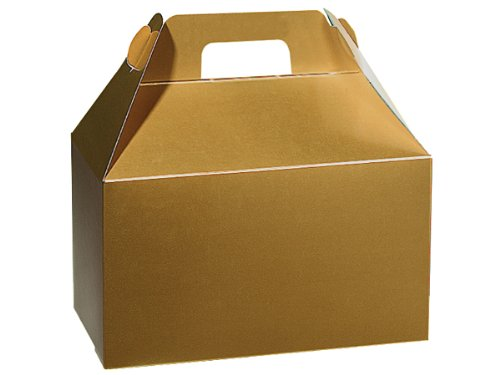 Pack of 6, Holiday Gold Gloss Gable Boxes 8.5 x 4.75 x 5.5