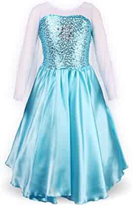 ReliBeauty Girls' Princess Elsa Fancy Dress Costume (5, Sky Blue)