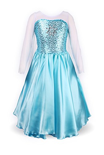 ReliBeauty Little Girls Princess Fancy Dress Elsa Costume, 7, Sky Blue -