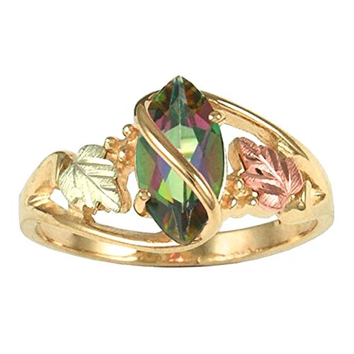 (HEART SPEAKER Women Marquise Colorful Leaves Faux Topaz Finger Ring Party Jewelry Gift - Golden US 7)