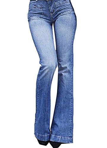 GALMINT Women's Fashion Bell Bottom High Waist Slimming Curvy Bootcut Denim Jeans...