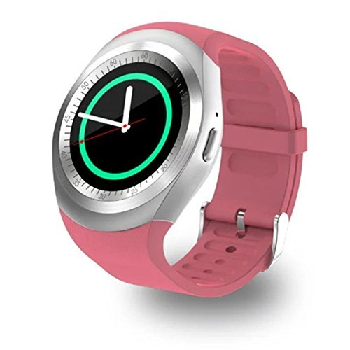 FuyBill Y1 Smart Watch Round Nano SIM TF Card With Whatsapp Facebook Fitness Business Compatible with Samsung LG Sony HTC HUAWEI Google Xiaomi Android Smart Phones for Women Men Kids Boys(Pink) by Fu&y Bill
