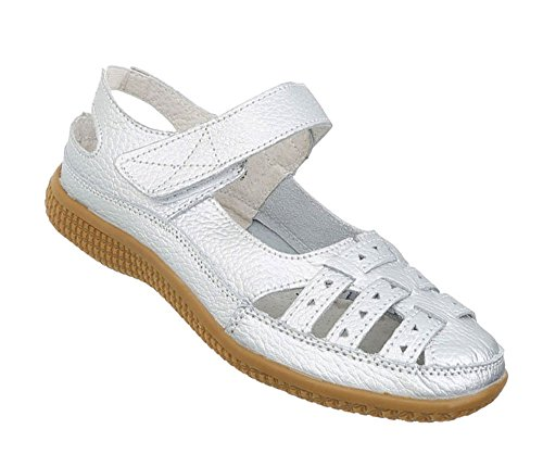 868d5b8818ad Silber Damen Sandalen Leder Klettverschluß Schuhe xUIUgRqpw ...