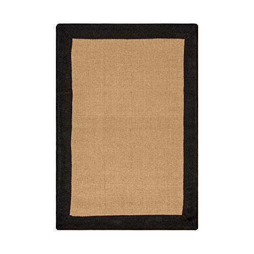 Superior Hand Woven Classic Jute Area Rug, 3' x 5', Black (Border Rugs Classic)
