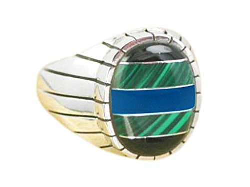 925 Sterling Silver Mens Onyx Malachite Turquoise Engraved Oval Thick Ring 13gr (10) ()