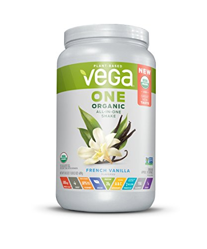 Vega One Organic All-in-One Shake French Vanilla (18 Servings, 1.5 lb) - Plant Based Vegan Protein Powder, Non Dairy, Gluten Free, Non GMO,24.3 Oz (Vanilla French Butter)