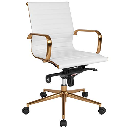 Flash Furniture Mid-Back White Ribbed Leather Executive Swivel Office Chair with Gold Frame, Knee-Tilt Control and Arms