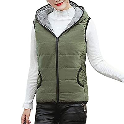 NUWFOR Women Casual Lightweight Down Vest Outdoor Zipper Hooded Puffer Vests Jacket for Winter/Autumn White