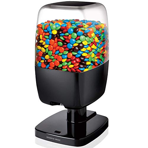 SHARPER IMAGE Motion Activated Candy Dispenser For Gumballs, Nuts, Snacks, Touchless Sensor Detector For Hands-Free Easy Fill Treat Canister For Kids, Adults, Battery Operated For Home/Office (Black)