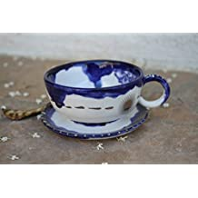 Royal Blue and silver Espresso Cup handmade ceramic teacup