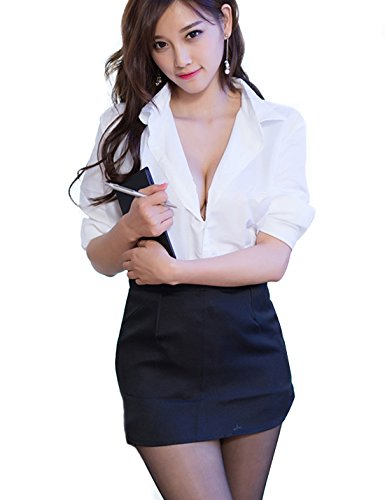Flovey Women Sexy Secretary Uniform Costume Cosplay Blouse Set (Large(fit (Sexy Secretary Costumes)