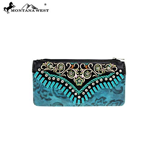 - Montana West Womens Western Wallet Embroidered Collection Embossed Vintage Pattern MW726-W021 Turquoise