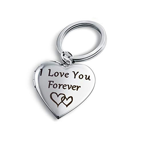 Keychain Metal Heart Locket - PHOCKSIN I Love You Forever Key Chains for Women Heart Locket Necklace That Holds Pictures
