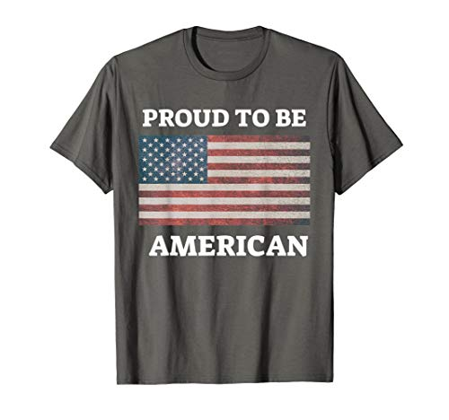 (Patriotic USA Flag T Shirt - Proud to be American)