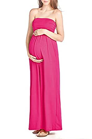 Beachcoco Women's Maternity Comfortable Maxi Tube Dress (S, Hot Pink)