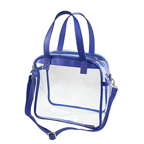 Capri Designs Carryall Tote - Royal Blue & Clear Stadium Approved Premium Shoulder Bag - Capri Tote