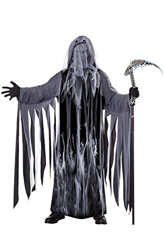 California Costumes Men's Soul Taker Scary Ghost Demon Skeleton Grim Reap, Black, Small/Medium ()
