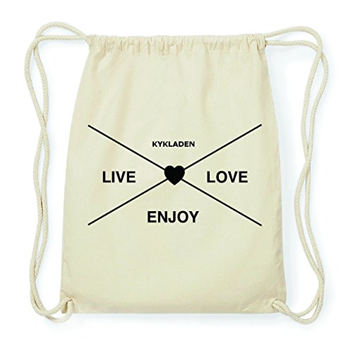 JOllify KYKLADEN Hipster Turnbeutel Tasche Rucksack aus Baumwolle - Farbe: natur Design: Hipster Kreuz