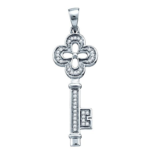 Sterling Silver Diamond Clover Key Pendant Love Charm Good Luck Fashion Style Fancy 1/8 Cttw Diamond Clover Key Pendant