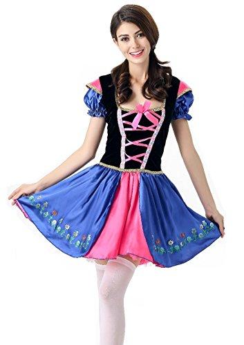 (Hide Away German Dirndl Dress Lovely Colerful October Fest Costume Beer Girl Costumes (Medium, Blue &)