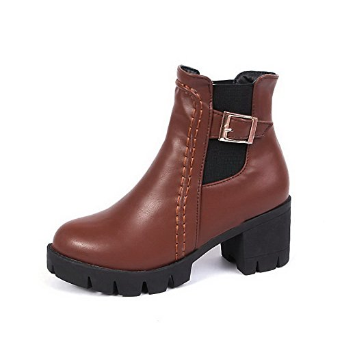 AgooLar Women's Pull-On Kitten-Heels Blend Materials Solid Round-Toe Boots Brown