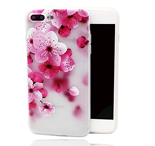 iPhone 8 Plus 7 Plus Case,Pink Flower Petals Design Printed Floral Matte Dropproof TPU Soft Cover for Girls Kids Rose Blossoms Pattern Clear Bumper Skin Back Case for iPhone 7 Plus iPhone 8 Plus ()