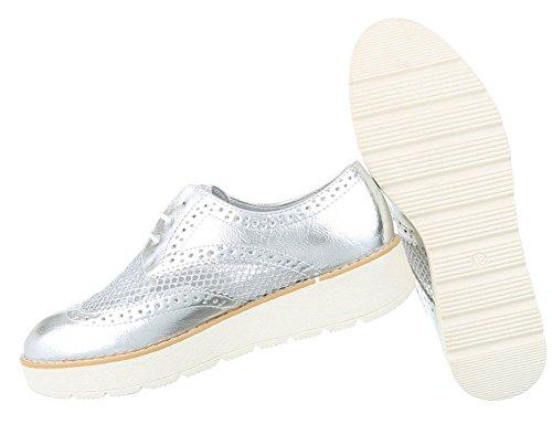 Damen Halbschuhe Schuhe Schnürer Elegant Gold 36 TU36A