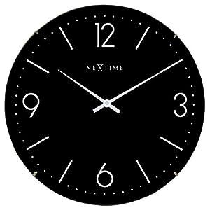 "NeXtime Reloj de pared ""BASIC DOME"", muy silencioso, redondo, negro, ø 35 cm 1"