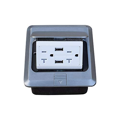 Pop Up Floor Outlet Box with 20Amp and 2 USB Chargers Stainless Steel Recaptacle TR Outlet
