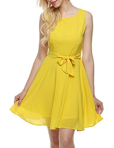 Zeagoo Vestidos sin Mangas de Gasa y de Fiesta para Mujer Amarillo
