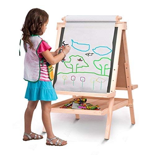 Kid's Wooden Art Easel Double Side With Paper Roll&Accessories Tray