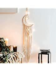 Alynsehom Moon Dream Catcher with LED Light Macrame Wall Hanging Dreamcatcher Boho Chic Handmade Woven Dream Catchers for Kids Room Decor Bohemian Home Decoration Ornament Craft