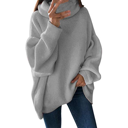 Loose Solid Color Sweatshirt Cozy Turtleneck Jumpers Pullover Blouse Top Tops Women Gray