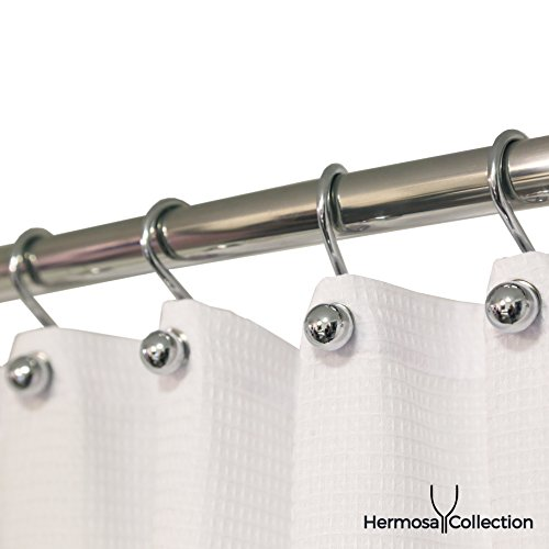 Hermosa Collection Luxury Hotel Quality Shower Curtain Hooks Silver Chrome Finish Rings S Hook (12-pk.)