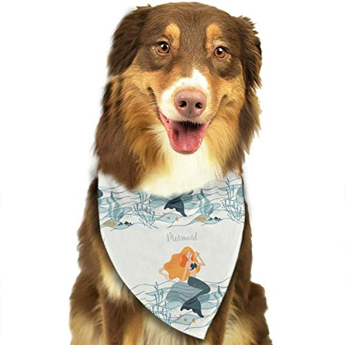 HGFR Mermaid Goddess Poster Customized Dog Headscarf Bright Coloured Scarfs Cute Triangle Bibs Accessories for Pet Dogs