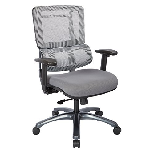Office Star Breathable Silver Vertical Mesh Back and Padded Steel Mesh Seat Managers Chair with Adjustable Arms and Titanium Accents