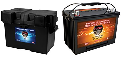 VMAX XTR27-110 + GROUP 27-31 BOX for Four Winns pwr boat&trolling motor marine deep cycle battery
