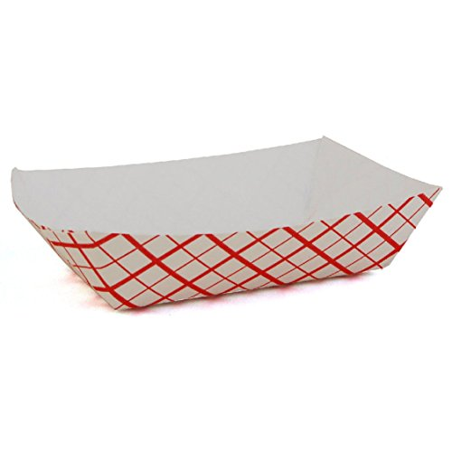 Fantastic Deals Pack of 50 Red and White 1lbs Disposable Paper Food Trays Picnic Carnival Festival - Tray Fair
