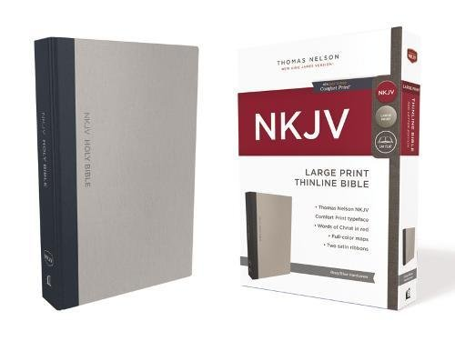 NKJV, Thinline Bible, Large Print, Cloth over Board, Gray/Blue, Red Letter Edition, Comfort Print