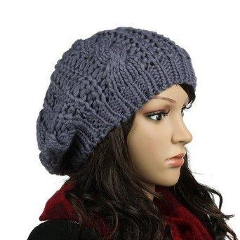 Crochet mujeres boina del invierno gorro de lana de punto flojo gorra de  esquí de color gris  Amazon.es  Deportes y aire libre 49e3fa30f82
