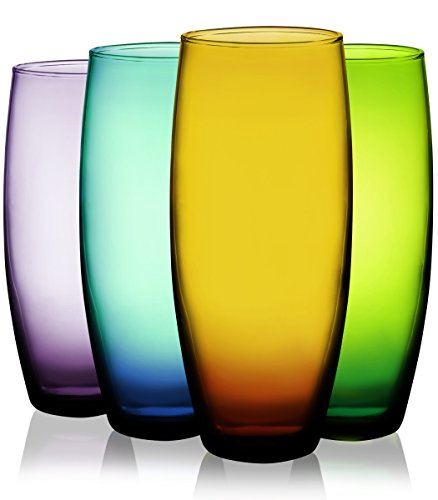 Attractive Set of Four (4) Unique Colored Stemless Flute Glassware 9 oz. - Party Drinking Glassware Set by TableTop King