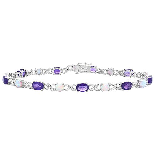 Brilliant Designers 3.87 CT Amethyst & 1 CT Created Opal With Diamond Accented Link Bracelet Set In Sterling Silver 7