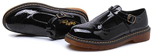 Low Ladies Heel Black Big Mary Shoes Women's Flats Brogues Size DADAWEN Janes Aw08P